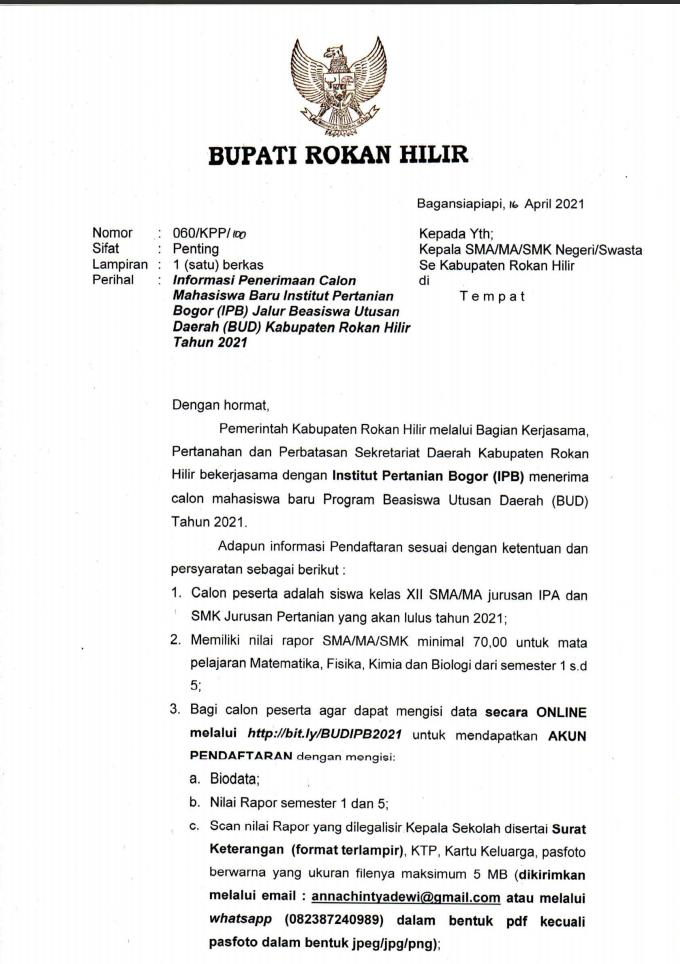 BEASISWA UTUSAN DAERAH IPB ROHIL 2021